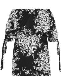 Off the shoulder floral print cotton mini dress black medium 3701042