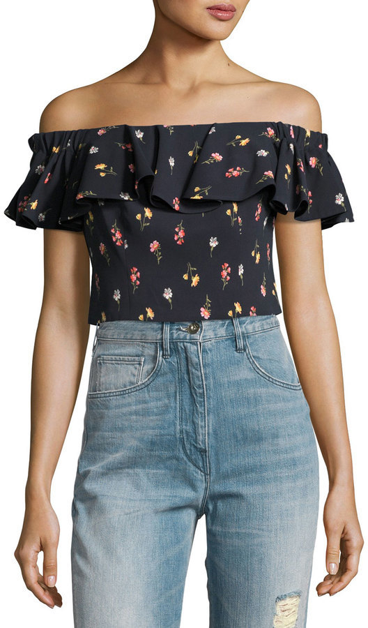 7ee0e19ac8 ... Last Call by Neiman Marcus › Rebecca Taylor › Black Floral Off Shoulder  Tops Rebecca Taylor Meadow Off The Shoulder Floral Print Top ...