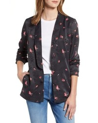 Black Floral Open Jacket