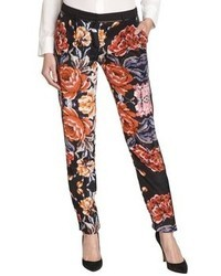 Greylin Black And Red Paloma Tapestry Silk Leather Detail Pants