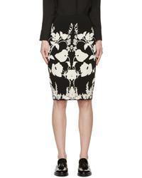 Alexander McQueen Black Ivory Knit Floral Skirt