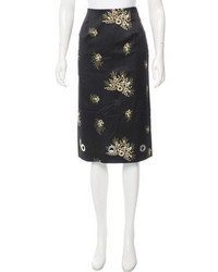 Suno Floral Print Pencil Skirt
