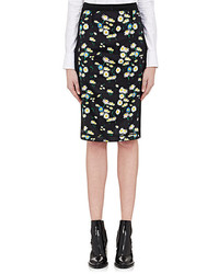 Paco Rabanne Knit Inset Satin Pencil Skirt