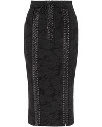 Dolce & Gabbana Lace Up Med Lace Pencil Skirt