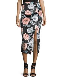 MinkPink Mink Pink Garden Of Eden Velvet Midi Skirt Black Pattern