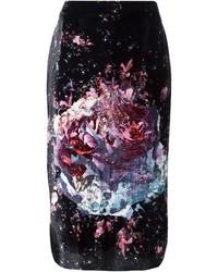 MSGM Floral Print Pencil Skirt