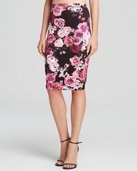 Aqua Skirt Cabbage Floral Scuba Pencil