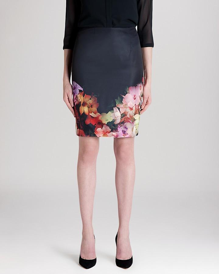 d12ce4544 ... Black Floral Pencil Skirts Ted Baker Skirt Kaikai Cascading Floral  Pencil ...