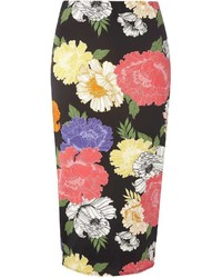 Tall black floral pencil skirt medium 3649458