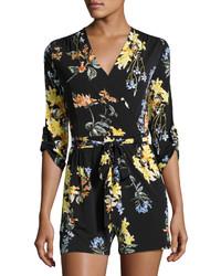 Neiman Marcus 34 Sleeve Floral Print Romper Black Pattern