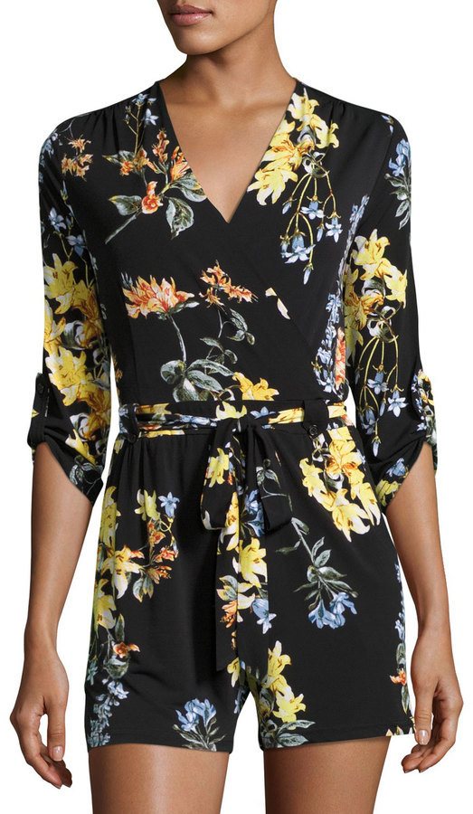 Neiman Marcus 34 Sleeve Floral Print Romper Black Pattern   Where to buy    how to wear 9c76cd22ec