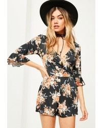 cd996b88ef47 Missguided Floral Eyelash Lace Trim Romper Black Out of stock · Missguided  Black Floral Print Slinky Frill Sleeve Wrap Playsuit