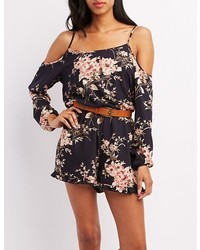 05e56cd4db50 ... Charlotte Russe Floral Cold Shoulder Romper