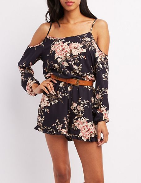 Charlotte Russe Floral Cold Shoulder Romper   Where to buy   how to wear c72367368e