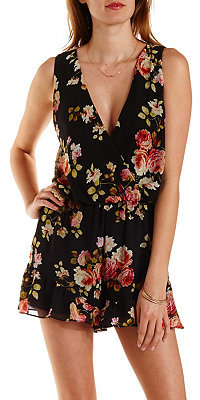 Charlotte Russe Floral Print Chiffon Ruffle Romper   Where to buy   how to  wear 49f2080790