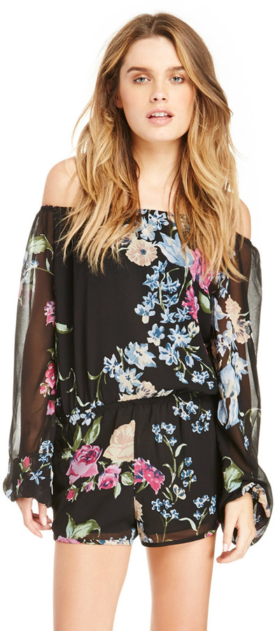 Women s Fashion › Jumpsuits › Playsuits › Black Floral Playsuits Dailylook  Floral Illusion Romper In Black M a0592a369a