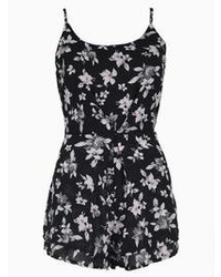 Choies Floral Print Romper Playsuit With Open Back In Black