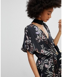New Look Floral Shirred Waist Wrap Playsuit Pattern