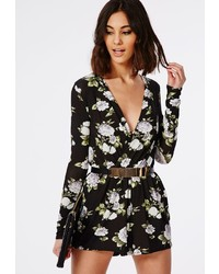 5eff4e2dd245 ... Missguided Floral Plunge Neck Romper Black Missguided Floral Plunge  Neck Romper Black Out of stock · Missguided Doria Floral Lace Trim Waistband  ...