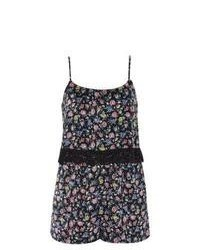 New Look Black Floral Print Lace Trim Layered Playsuit
