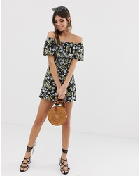 ASOS DESIGN Off Shoulder Ruffle Playsuit With Shirring In Ditsy Floral