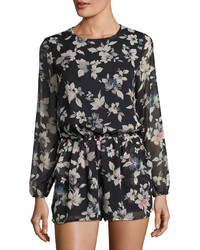 Lucca Couture Theresa Floral Long Sleeve Romper Blackmulti