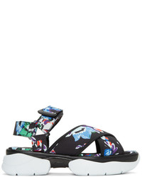 MSGM Black Floral Multi Strap Sandals