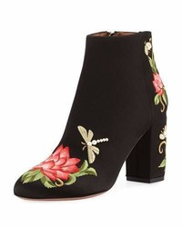 Aquazzura Lotus Satin Floral Embroidered Bootie Black