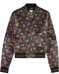 Floral print satin bomber jacket black medium 1251759