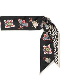 Valentino Floral Print Silk Twill Scarf Black