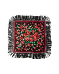 Dolce & Gabbana Rose Print Fringe Scarf