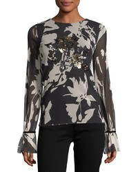 Fuzzi Long Sleeve Sequin Trimmed Floral Tulle Tee