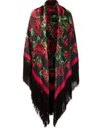 Dolce & Gabbana Fringed Floral Print Silk Satin Wrap