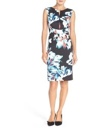 Floral print scuba sheath dress medium 749087