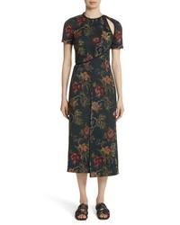 Rosetta Getty Floral Satin Jacquard Dress