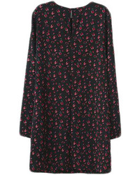Choies Black Shift Dress With Floral Print