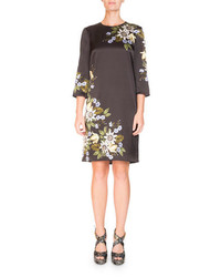 Erdem Emma Elbow Sleeve Silk Shift Dress With Placed Floral Print