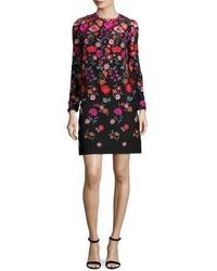 Lela Rose Floral Embroidered Long Sleeve Shift Dress Black