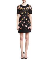 Floral embroidered short sleeve shift dress black medium 3698234