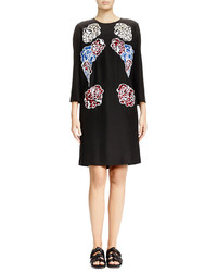Stella McCartney Floral Print Applique Shift Dress Black