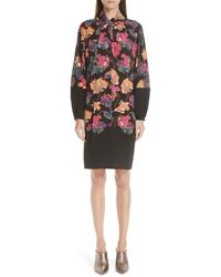 Etro Poppy Print Tie Neck Silk Dress