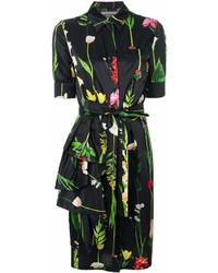 Moschino Floral And Foliage Print Shirt Dress