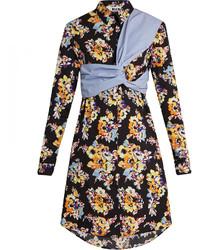 Floral print twisted panel cotton shirtdress medium 1158254