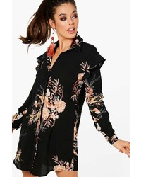 Boohoo Gabriella Dark Floral Ruffle Shirt Dress