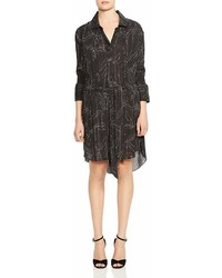 Halston Heritage Smocked Sleeve Botanical Print Shirt Dress