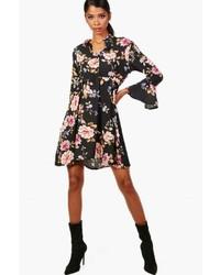 Boohoo Kasey Floral Tie Waist Woven Shirt Dress