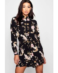 Boohoo Lottie Floral Tie Waist Woven Shirt Dress