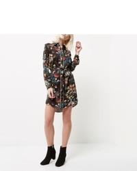 River Island Petite Black Floral Print Shirt Dress