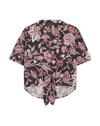 Isabel Marant Neel Tie Front Floral Print Cotton Shirt