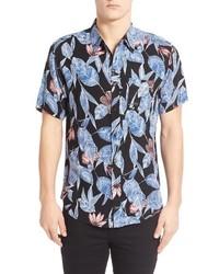 Alta floral leaf print short sleeve woven shirt medium 667528
